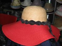 Red Toyo and Raffia Hat with Ribbon