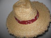 Honolulu Cowboy -- Wheat Straw Hat with Colorful Band and Fuzzy Edge