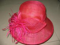 Red Feathers Church Hat