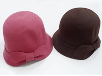 Felt Wool Cloche with Felt Bow - 4 colors