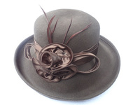 Large Wool Women's Hat with Big Satin Flowers