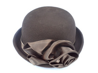 Brown Satin Flower Womans Bowler