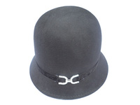 A Double Horseshoe Diamond Velvet Wool Cloche