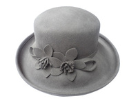 A Taupe Large Wool Hat with Cut Felt Flowers
