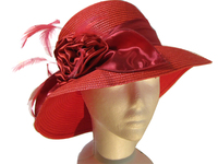 Red Feather and Satin Polyester Hat