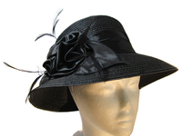 Black Feather and Satin Polyester Hat