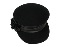 Women's Black Wool Newsboy Cap with Flower