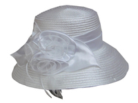 White Feather and Satin Polyester Hat